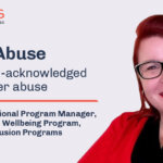 elder abuse - an often un-aknowedged form of elder abuse. Claire allen, national program manager, Prid ein helath + wellbeing Program, ACON pride in clsyuion programs, COmpass - Guide action on ender abuse - photo of claire with red jumper and lipstik, red hear and black glasses
